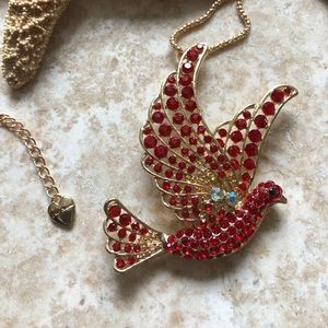 [NWOT] Betsey Johnson Red Peace Dove Necklace